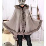 Cape manteau poncho fourrure grande taille hiver gris taupe JULES-Cape femme-CHARLESELIE94