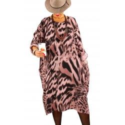 Robe grande taille tencel imprimée ROSALIA rose
