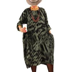 Robe grande taille tencel imprimée ROSALIA Kaki