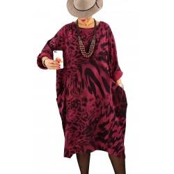 Robe grande taille tencel imprimée ROSALIA Bordeaux