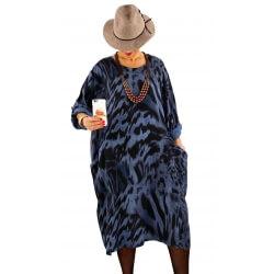 Robe grande taille tencel imprimée ROSALIA bleu jean