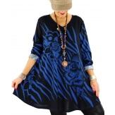 Tunique longue hiver grande taille bohème bleu dur SAVANA