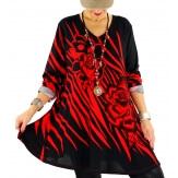 Tunique longue grande taille bohème chic rouge SAVANA
