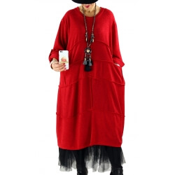 Robe grande taille hiver ample NOVA Rouge