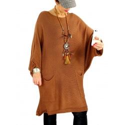 Pull long femme grande taille laine mohair SWAN Brique