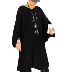 Pull long femme grande taille laine mohair SWAN noir