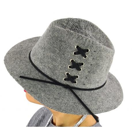 Chapeau Fédora laine hiver BRODY gris clair
