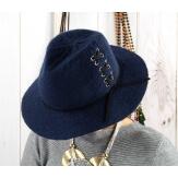 Chapeau Fédora laine hiver BRODY bleu marine