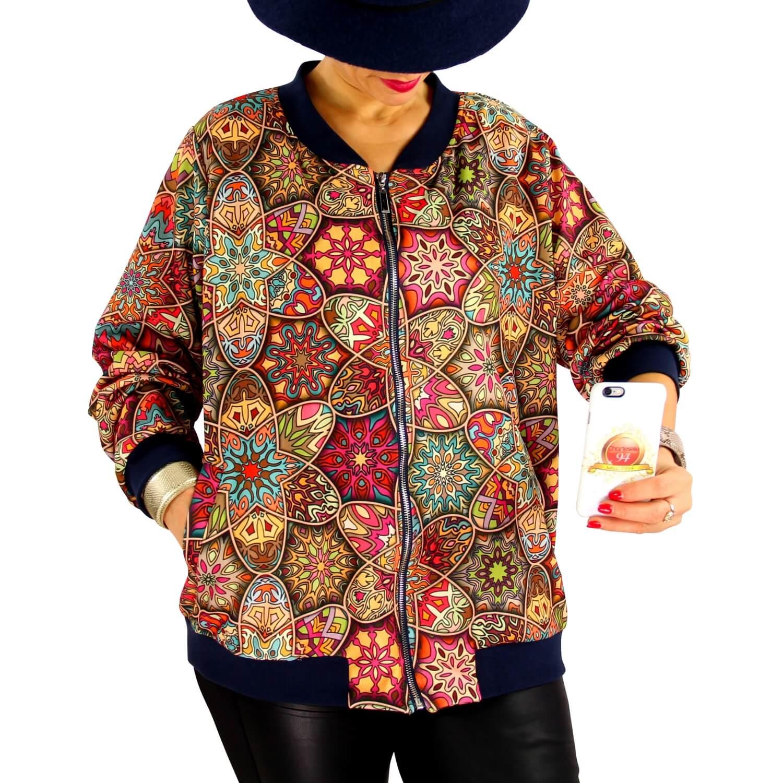 meilleure sélection cccac a18d4 Veste blouson femme grande taille zippé imprimé TIGOU1