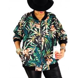 Veste blouson femme grande taille zippé imprimé TIGOU5