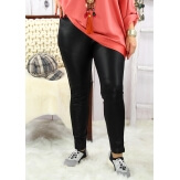 Pantalon tregging slim Cuir taille haute  grande taille noir CHRISTINE