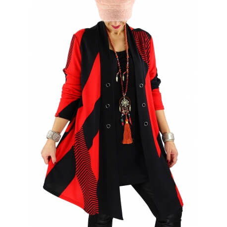 Tunique longue ample grande taille rouge MAXOU