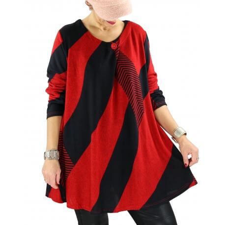 Tunique longue ample grande taille rouge MONACO