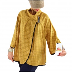 Veste cape gilet grande taille ample zip GAGA moutarde