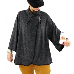 Veste cape gilet grande taille ample zip GAGA noir