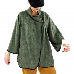 Veste cape gilet grande taille ample zip GAGA kaki