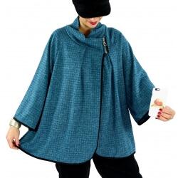 Veste cape gilet grande taille ample zip GAGA bleu canard