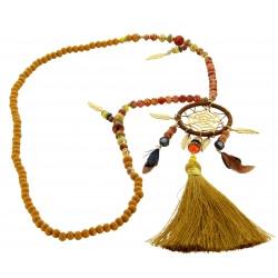 Sautoir long bohème perles verre pompons collier C130