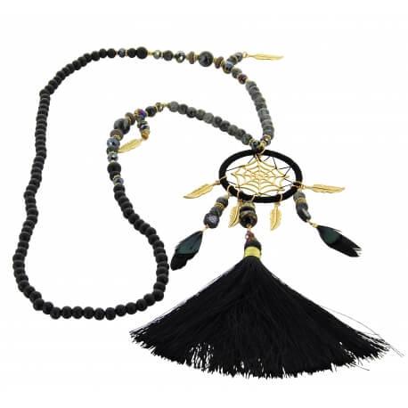 Sautoir long bohème perles verre pompons collier C133 Collier sautoir fantaisie