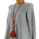 Sautoir long bohème perles verre pompons collier C136-Collier sautoir fantaisie-CHARLESELIE94