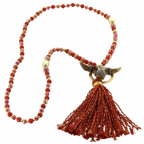 Sautoir long bohème perles verre pompons collier C136