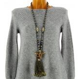 Sautoir long bohème perles verre pompons collier C135-Collier sautoir fantaisie-CHARLESELIE94