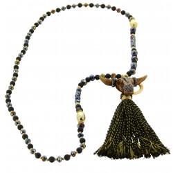 Sautoir long bohème perles verre pompons collier C135