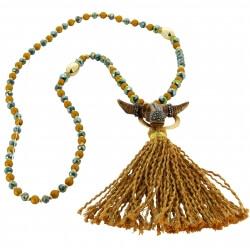 Sautoir long bohème perles verre pompons collier C134