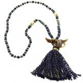 Sautoir long bohème perles verre pompons collier C137