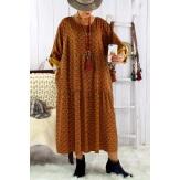 Robe longue grande taille bohème BISOU Moutarde