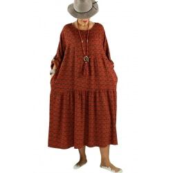 pas cher pour réduction 20579 15e4c Robe longue grande taille bohème BISOU Brique