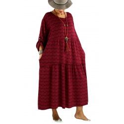 Robe longue grande taille bohème BISOU Bordeaux