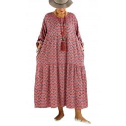 Robe longue grande taille bohème BISOU Rose