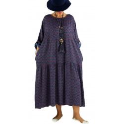 Robe longue grande taille bohème BISOU Bleu jean