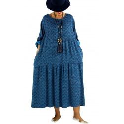 Robe longue grande taille bohème BISOU Bleu canard