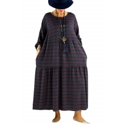 Robe longue grande taille bohème BISOU Bleu marine