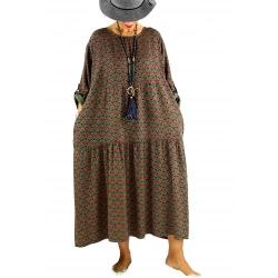 Robe longue grande taille bohème BISOU Kaki