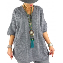 Pull femme grande taille mohair COTTAGE Gris