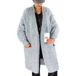 Gilet long femme grosse maille laine CHANCE Gris