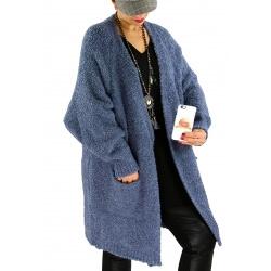 Gilet long femme grosse maille laine CHANCE Bleu