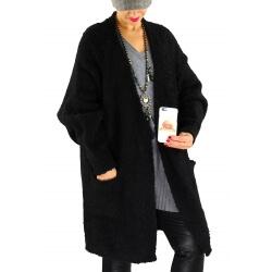 Gilet long femme grosse maille laine CHANCE Noir