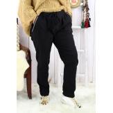 Pantalon femme grande taille stretch noir NAYA