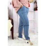 Pantalon femme grande taille stretch NAYA bleu