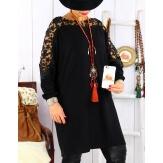 Robe pull grande taille dentelle noir MUSICA Robe femme