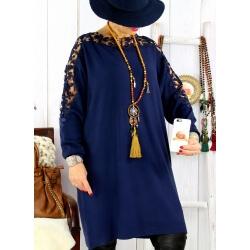 Robe pull grande taille dentelle marine MUSICA Robe femme