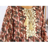 Tunique blouse grande taille pompons broderies CARIE