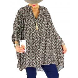 Tunique blouse grande taille pompons BONBON bleu