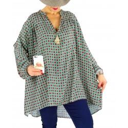 Tunique blouse grande taille pompons BONBON Vert