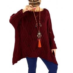 Pull long femme grande taille mohair CHARME Bordeaux
