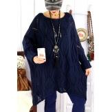 Pull long femme grande taille mohair bleu marine CHARME Pull femme grande taille